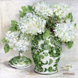 Original Painting on Canvas - Green & White with Hydrangeas (B) - 20 x 20cm series