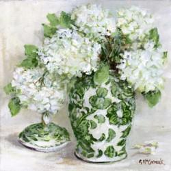 Original Painting on Canvas - Green & White with Hydrangeas (B) - 20 x 20cm series