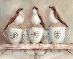 Birds on French Mugs - Available as prints and gift cards