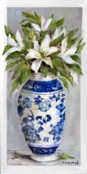 Original Painting on Panel - Lilies in Blue & White Vase - Postage is included Australia Wide