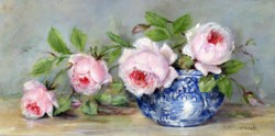 Original Painting on Panel - Flowing Roses in a Blue & White Bowl - Postage is included Australia Wide
