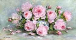 Original Painting on Panel - Scented Garden Roses in a Blue & White Bowl - Postage is included Australia Wide