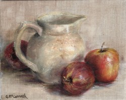 Original Painting on Linen - Jug & Apples - Postage is included Australia Wide