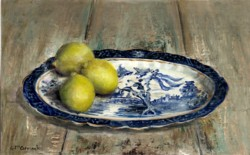 Original Painting on Panel - Lemons on Blue & White - sold