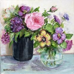 Original Painting on Canvas - Roses & Pansies - 20 x 20cm series