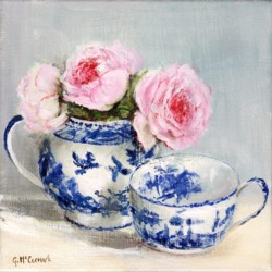 Original Painting on Canvas - Roses in Blue and White set - 20 x 20cm series