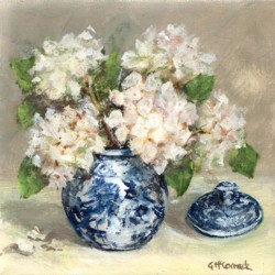 Original Painting on Canvas - Blue & White with Hydrangeas - 20 x 20cm series