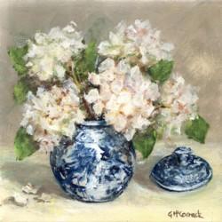 Original Painting on Canvas - Blue & White with Hydrangeas - 20 x 20cm series