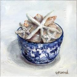 Original Painting on Canvas - Stair Fish & Shells - 20 x 20cm series