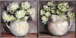Pair of Original Paintings on Canvas - Rustic Jugs - 20 x 20cm series