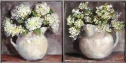 Pair of Original Paintings on Canvas - Rustic Jugs - 20 x 20cm series