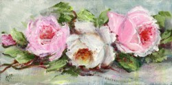 Miniature Painting Resting Roses - postage included Australia wide