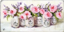 Miniature Painting Roses & Lavender - postage included Australia wide