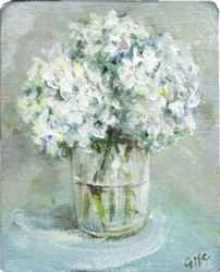 Miniature Painting Hydrangeas white - postage included Australia wide