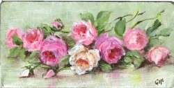 Miniature Painting Assorted Laying Roses - postage included Australia wide