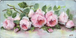Miniature Painting Pink Laying Roses - postage included Australia wide