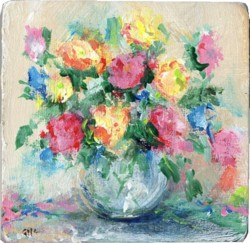 Miniature Painting Abstract vase of flowers - postage included Australia wide