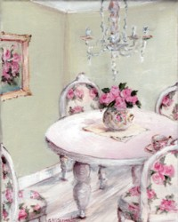 Original Whimsical Painting -  Elegant Tea Time - Postage is included