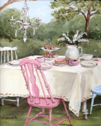 PRINT ON PAPER - The Garden Tea Party - FREE  Shipping WORLD WIDE