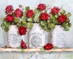 Geraniums in French Mustard Pots - Available as prints and gift cards