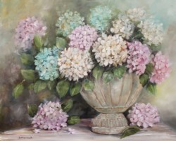 Ready to Frame Print - Hydrangeas in a Rustic Urn - Postage is included Worldwide