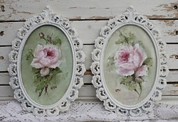 Pair of Original Paintings - Pink Rose - Postage is included Australia Wide