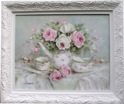 Original Painting - English Tea Set & Roses - postage is included Australia wide