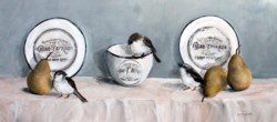 Original Mixed Media on Panel - French Plates, Pears & Birds - SOLD