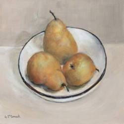 Original Painting on Canvas - Three Bosc Pears - postage included Aus wide