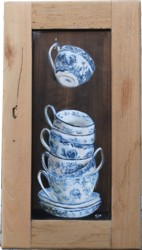 Original Painting on Old Cupboard door - Blue & White Tea Cups - Postage is included Australia wide