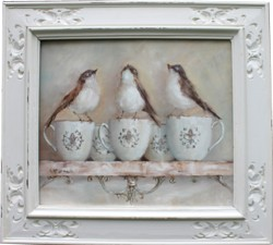 Original Painting - Birds on French Mugs - Postage is included Australia Wide