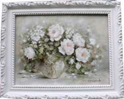 Original Painting - Blooming Whites in a Vase - Postage is included Australia Wide