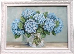 Original Painting - Blue Hydrangeas in Glass - Postage is included Australia Wide