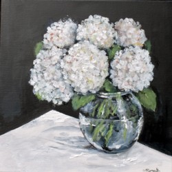 Original Painting on Canvas - White Hydrangeas on Black