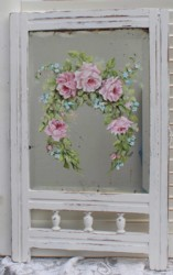 Original Painting - Roses on a Vintage Mirror - Postage is included Australia wide