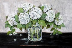 "Original Painting on Panel - ""White Hydrangeas"" SOLD"