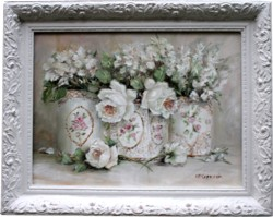 Original Painting - Whites in Vintage Tin Trio - Postage is included Australia Wide