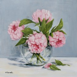 "Original Painting on Canvas - ""Four Peonies"" - Postage included Australia wide"
