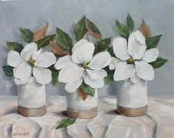 Original Painting on Canvas - Three Magnolias - Postage included Australia wide