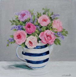 Original Painting on Canvas - Assortment of Roses in a Jug - Postage included Australia wide