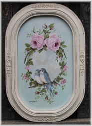 Original Painting - Birds Amongst The Roses -  Postage is included Australia wide