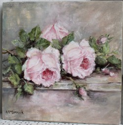 Original Painting on Panel - Vintage Laying Roses - Postage is included Australia Wide