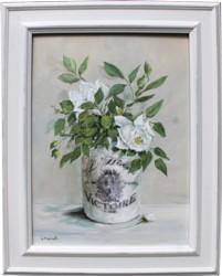 Original Painting - White Roses in French Pot - SOLD OUT