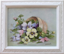 Original Painting - Potted Pansies - Postage is included Australia Wide