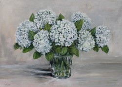 "Original Painting on Panel - ""Early White Hydrangeas"""