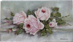 Original Painting on Panel - Pink Vintage Laying Roses - Postage is included Australia Wide