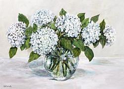 Original Painting on Panel - Simply White Hydrangeas