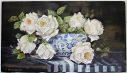 Original Painting on Panel - White Roses in a blue and white bowl - Postage is included Australia Wide