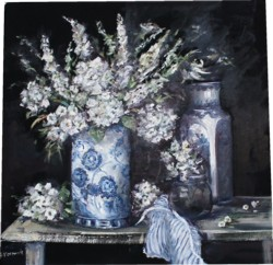 Original Painting on Panel - White Florals - Postage is included Australia Wide