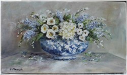Original Painting on Panel - White flowers in a blue and white bowl - Postage is included Australia Wide